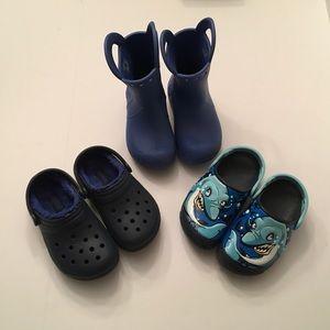 3 Pr Kids CROCS Shoes Rainboots LightUp Sharks C10